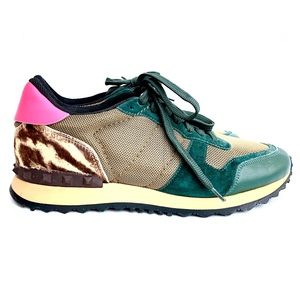 Valentino Pink Green Sneakers